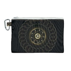 Fractal Gold Mandala Fractal Art Canvas Cosmetic Bag (large) by Simbadda