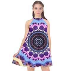 Mandala Art Design Pattern Halter Neckline Chiffon Dress  by Simbadda