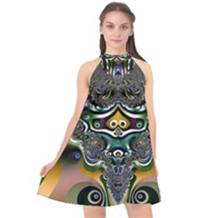 Fractal Art Artwork Design Pattern Halter Neckline Chiffon Dress  by Simbadda