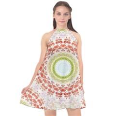 Fractal Kaleidoscope Mandala Halter Neckline Chiffon Dress  by Simbadda