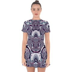 Pattern Fractal Art Artwork Design Drop Hem Mini Chiffon Dress by Simbadda