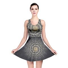 Fractal Mandala Feathers Grey Reversible Skater Dress by Simbadda