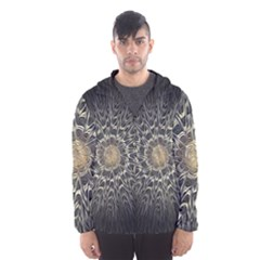 Fractal Mandala Feathers Grey Hooded Windbreaker (men) by Simbadda