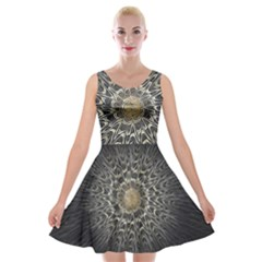 Fractal Mandala Feathers Grey Velvet Skater Dress by Simbadda