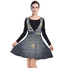 Fractal Mandala Feathers Grey Other Dresses by Simbadda
