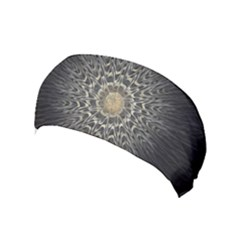 Fractal Mandala Feathers Grey Yoga Headband by Simbadda