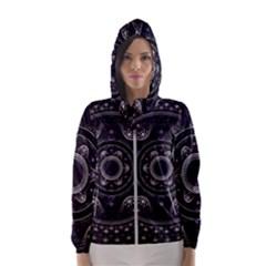 Fractal Mandala Circles Purple Hooded Windbreaker (women) by Simbadda