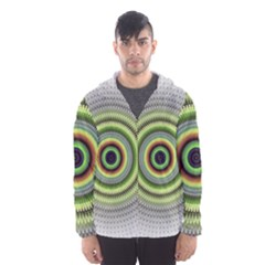 Fractal Mandala White Background Hooded Windbreaker (men) by Simbadda