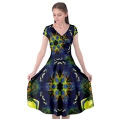 Chakra Art Healing Mandala Cap Sleeve Wrap Front Dress by Simbadda