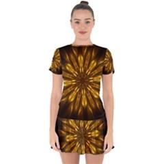 Mandala Gold Golden Fractal Drop Hem Mini Chiffon Dress by Simbadda