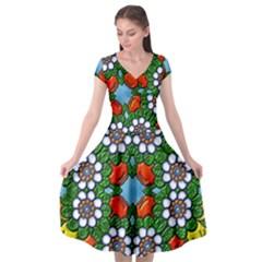 Mandala Background Colorful Pattern Cap Sleeve Wrap Front Dress