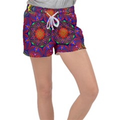 Kaleidoscope Mandala Pattern Women s Velour Lounge Shorts
