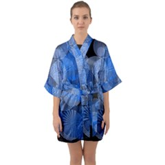 Circle Rings Abstract Optics Quarter Sleeve Kimono Robe by Simbadda