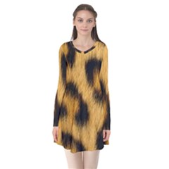 Animal Print Leopard Long Sleeve V Neck Flare Dress by NSGLOBALDESIGNS2