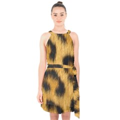 Animal Print Leopard Halter Collar Waist Tie Chiffon Dress by NSGLOBALDESIGNS2