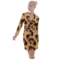 Animal Print Leopard Button Long Sleeve Dress by NSGLOBALDESIGNS2