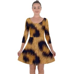 Animal Print Leopard Quarter Sleeve Skater Dress by NSGLOBALDESIGNS2