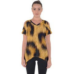 Animal Print Leopard Cut Out Side Drop Tee by NSGLOBALDESIGNS2