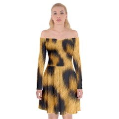 Animal Print Leopard Off Shoulder Skater Dress by NSGLOBALDESIGNS2