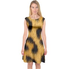 Animal Print Leopard Capsleeve Midi Dress by NSGLOBALDESIGNS2