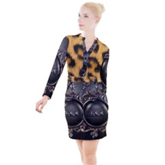 Animal Print Button Long Sleeve Dress by NSGLOBALDESIGNS2