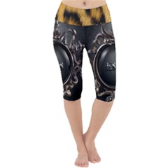 Animal Print Lightweight Velour Cropped Yoga Leggings by NSGLOBALDESIGNS2