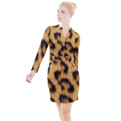 Leopard Print Button Long Sleeve Dress by NSGLOBALDESIGNS2