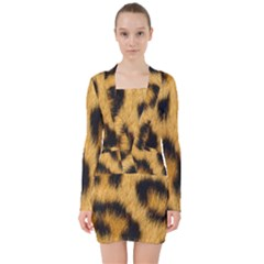 Leopard Print V Neck Bodycon Long Sleeve Dress by NSGLOBALDESIGNS2