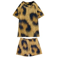 Leopard Print Kids  Swim Tee And Shorts Set by NSGLOBALDESIGNS2