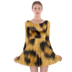 Leopard Print Long Sleeve Skater Dress by NSGLOBALDESIGNS2