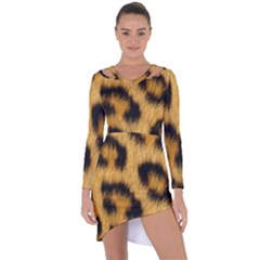 Leopard Print Asymmetric Cut Out Shift Dress by NSGLOBALDESIGNS2