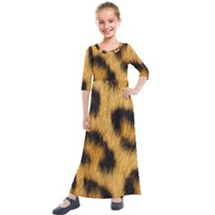 Leopard Print Kids  Quarter Sleeve Maxi Dress by NSGLOBALDESIGNS2