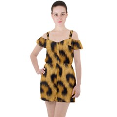 Leopard Print Ruffle Cut Out Chiffon Playsuit by NSGLOBALDESIGNS2