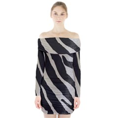 Zebra Print Long Sleeve Off Shoulder Dress by NSGLOBALDESIGNS2