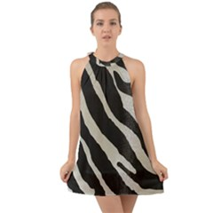 Zebra Print Halter Tie Back Chiffon Dress by NSGLOBALDESIGNS2