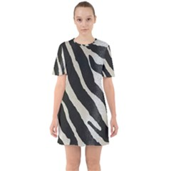 Zebra Print Sixties Short Sleeve Mini Dress by NSGLOBALDESIGNS2