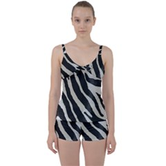 Zebra Print Tie Front Two Piece Tankini by NSGLOBALDESIGNS2