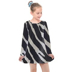 Zebra Print Kids  Long Sleeve Dress by NSGLOBALDESIGNS2