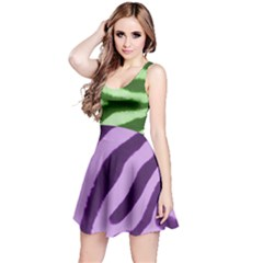 Green And Purple Zebra Reversible Sleeveless Dress by chihuahuadresses