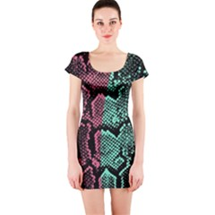 Colour Block Snakeskin Short Sleeve Bodycon Dress by chihuahuadresses