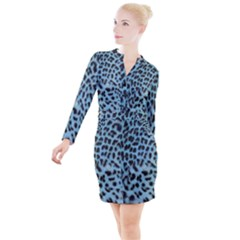 Blue Leopard Print Button Long Sleeve Dress by chihuahuadresses
