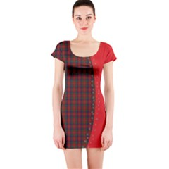 Red Plaid Short Sleeve Bodycon Dress by chihuahuadresses
