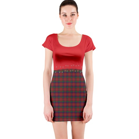 Red And Plaid Short Sleeve Bodycon Dress