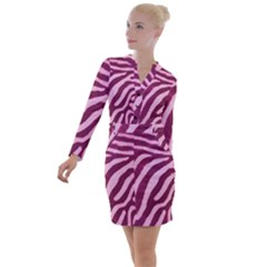 Pink Zebra Button Long Sleeve Dress by chihuahuadresses