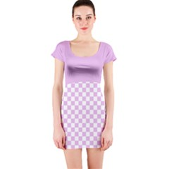 Lavender Mod Check Short Sleeve Bodycon Dress by chihuahuadresses