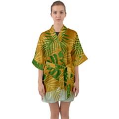 Leaf Leaves Nature Green Autumn Quarter Sleeve Kimono Robe