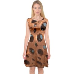Texture Pattern Wallpaper Background Pattern Holes Capsleeve Midi Dress by Samandel