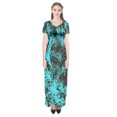 Blue Etched Background Short Sleeve Maxi Dress