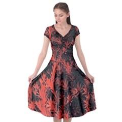 Orange Etched Background Cap Sleeve Wrap Front Dress by Samandel
