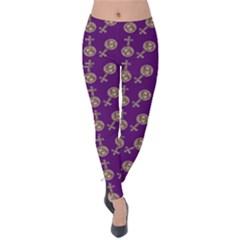 Victorian Crosses Purple Velvet Leggings by snowwhitegirl